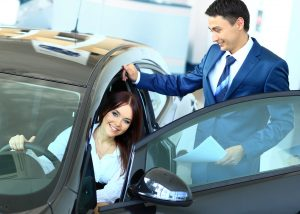 Woman buying a new chevy